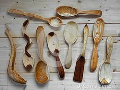 Hand carved wooden spoons by Luca Manieri, via Dreamstime
