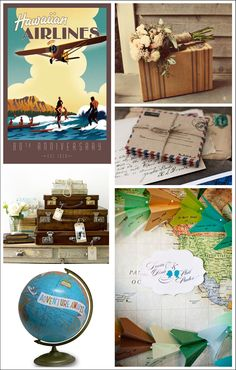 Check out this inspiration board we made for a vintage travel-themed wedding! The Pima Air and Space Museum is a great location for any wedding! For more information on events contact our Events Coordinator at 520-618-4850. For more ideas, check out these websites: http://www.etsy.com/blog/en/2012/short-stories-wendy-gold-globes/ http://www.etsy.com/listing/154692598/handmade-vintage-air-mail-envelopes And the Driven by Decor Blog, the I Heart Shabby Chic Blog, and the Love and Lavendar…