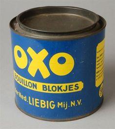 """Rond blik met inliggend los deksel, """"Oxo Bouillon blokjes"""", blauw en geel."""