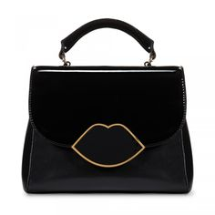 Black Smooth and Patent Leather Small Izzy Satchel: The stylish black Small Izzy satchel is the must have bag for girls on the move. Worn cross body or over the shoulder, this versatile style is a quintessential everyday bag, with enough room for all those handbags essentials.   - Visit Lulu Guinness at http://www.luluguinness.com/