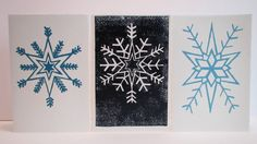 Christmas Cards set of 3 handprinted Snowflake by ShedThreeStudio