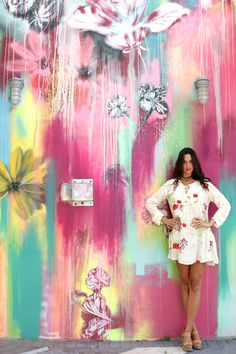 Mini Dress Off White with Embroidered Flowers Tunic Wynwood Walls Miami, Selfies, White Tunic, Holiday Pictures, Floral Tunic, Spring Dresses, Embroidered Flowers, Off White, Floral Prints