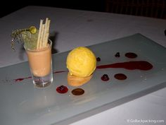 Bijao Restaurant Nuevo Latino Cuisine, Passion Fruit Ice Cream with RumVanilla Caramel Sauce Recipe Ayesha Curry Food Network, F. Colombian Desserts, Colombian Food, Passion Fruit Ice Cream, Dessert Restaurants, Ayesha Curry, Served Up, Curry Recipes, Food Network Recipes, Caramel
