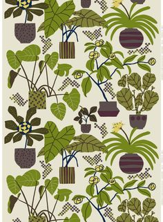 Marimekko Beige/Green Ikkunaprinssi Fabric Deep greens and dark browns reach out across Erja Hirvi's 2011 Ikkunaprinssi print. With a soft and subtle beige background, the bold shapes and silhouettes of the Marimekko Beige/Green Ikkunaprinssi F. Motifs Textiles, Textile Prints, Textile Patterns, Textile Design, Fabric Design, Print Patterns, Lino Prints, Floral Patterns, Block Prints