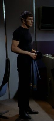 Something about Spock in all black with his mini guns showing makes for a fabulous view