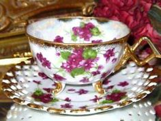 Japan 3 Footed Violets & Gold Pierced Tea Cup and Saucer Open Edges