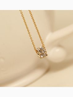 Necklace With Diamante Cube | Choies