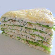 Белковый торт с куриной грудкой: идеальный ужин! На 100 гр - 97 ккал белки - 17 жиры - 2 углеводы - 1 Потребуется: 10 белков, 2 желтка, 1 куриная грудка, 200 г нежирного творога, зелень, листья салата, ¼ стакана нежирного кефира, соль, перец. Приготовление: Смешиваем белки и желтки. На антипригарной сковороде жарим три блина из яиц. Отдельно варим грудку, слегка солим, перчим. Нарезаем грудку кубиками. Смешиваем творог с зеленью и кефиром. Выкладываем в форму: сначала