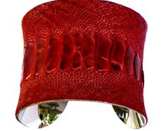 Red Ostrich Leather