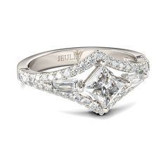 Three-stone Princess Cut Created White Sapphire With Baguette Cut Sidestone Rhodium Plating Sterling Silver Women's Ring
