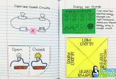 Electricity Science Interactive Notebook Photos: open and closed circuits and how electrical energy can change