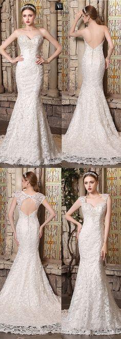 Amazing lace sweetheart neckline mermaid wedding dresses with detachable straps. Free shipping now! (WWD80312) - Adasbridal.com
