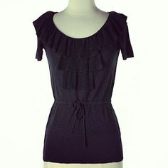 💲29✂CALVIN KLEIN Black Ruffled Blouse ✨Color is true BLACK, so chic and sophisticated!  ⏩Chic tie-waist shapes a stunning silhouette ⏩V-neckline & beautiful ruffled front ⏩Has lot of stretch, uber-soft, fit beautifully ⏩High quality, well-made with 3% cashmere ⏩Ties at waist so you can adjust the size ⏩It says XS, but can fit S & small M ⏩Super soft and comfortable! It's highly versatile, you can easily dress it up and down! Calvin Klein Tops Blouses