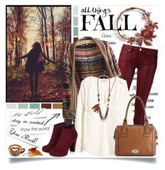 """""""All things fall"""" by annabu ❤ liked on Polyvore featuring GE, Paige Denim, H&M and FOSSIL"""
