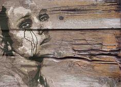 Collage Sobre viejos tablones de madera o vinilo. # Decoración # Casa # Diseño. Para Solicitar información: pil4r@routetoart.com