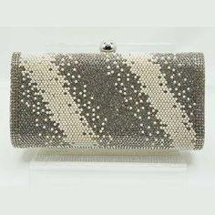 Tigerstars l $32.00 Dazzling Champagne Rhinestone Pearl Bead Evening Case Clutch Purse Bag
