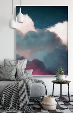 Extra Large Wall Art - Cloud Painting by Corinne Melanie Art in living room ideas illusions Extra Large Wall Art, Cloud Painting, Abstract Art, Large Abstract Painting, Cloudscape Art by CORINNE MELANIE 'Aurae III' Grand Art Mural, Extra Large Wall Art, Large Art, Cloud Art, Wall Art Designs, Minimalist Home, Interior Design, Canvas Canvas, Canvas Size