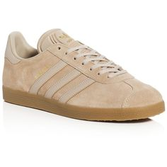 Adidas Men's Gazelle Lace Up Sneakers ($85) ❤ liked on Polyvore featuring men's fashion, men's shoes, men's sneakers, clay brown, mens lace up shoes, adidas mens shoes, adidas mens sneakers, mens brown shoes and mens brown leather sneakers