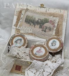 Shabby Chic Inspired - altered household spools - ribbon spools!!