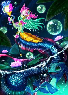 League of Legends Nami Cosplay, Lol League Of Legends, Merfolk, Imagine Dragons, Mermaid Art, Mythical Creatures, Overwatch, Fantasy Art, Character Design