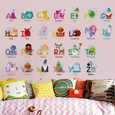 🙋♀️Engage your child from an early age and 👩🎓make LEARNING FUN AND FROLIC. Arrange these 26 colorful letters with adorable animals any way you like 🐼It will make any child go for it! A MUST HAVE for Kindergartens❗️ Alphabet Wall Decals, Abc Wall, Nursery Wall Stickers, Girls Room Game, Kids Room, Alphabet For Kids, Animal Alphabet, Picture Letters, 26 Letters