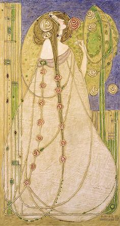 """Margaret Macdonald Mackintosh was a Scottish artist whose design work became one of the defining features of the """"Glasgow Style"""" during the Charles Rennie Mackintosh, House For An Art Lover, Azulejos Art Nouveau, Art Magique, Design Art Nouveau, Jugendstil Design, Glasgow School Of Art, Glasgow Girls, Creation Art"""