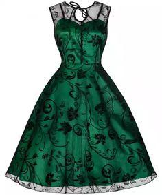 LINDY BOP Dámské retro šaty Frankie Jean zelené