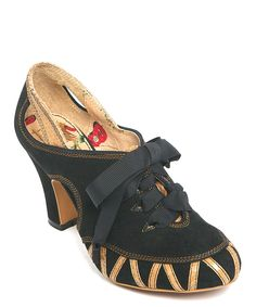 Look what I found on #zulily! Black & Gold Lace-Up Flamenco Suede Pump by Miss L Fire #zulilyfinds