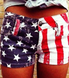 Washed American Flag Shorts