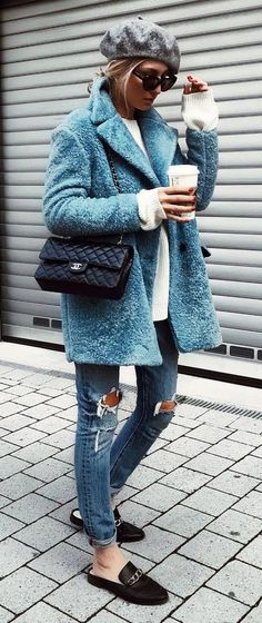 winter fashion trends / hat + blue coat + bag + sweater + rips + loafers
