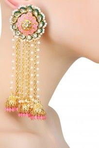 Earrings Artificial Online Jewellery with pink thewa chain jhumki earrings Indian Jewelry Earrings, Indian Jewelry Sets, Jhumki Earrings, Fancy Jewellery, Jewelry Design Earrings, India Jewelry, Bridal Earrings, Trendy Jewelry, Designer Earrings