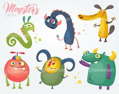 Items similar to Monsters vector set. Digital vector file clip art on Etsy Funny Monsters, Cartoon Monsters, Monster Illustration, Children's Book Illustration, Monster Characters, Cartoon Characters, Doodle Ideas, Halloween Cartoons, Kids Party Decorations