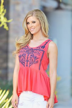 In Harmony's Way Top - Coral from Closet Candy Boutique