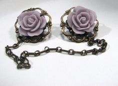 Sweater Clip Purple Rose Cab Filigree and Chain by SpinTilYurDizzy