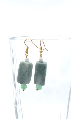 Handmade Gifts of Jewelry: Green marble, green and white glass beads: One of a kind