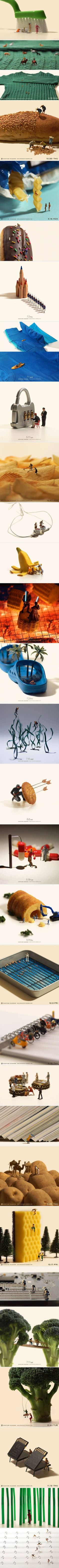 Tiny figurines interacting with everyday objects in interesting ways