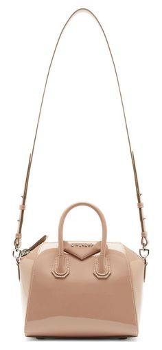 This season's latest Givenchy Antigona Bags features bright colors, patent and exotic leathers. For Spring/Summer Givenchy has combined patent and Antigona Mini, Dusty Pink, Patent Leather, Leather Bag, Givenchy, Shoulder Strap, Tote Bag, Raised Panel, Occasion Bags