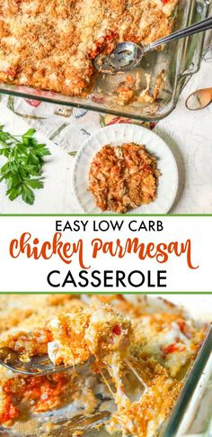Low Carb Chicken Parmesan Casserole Recipe - super easy and delicious keto casserole with only 3.6g net carbs! #casserole #chicken #parmesan #lowcarb #keto #easyrecipe