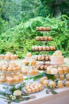 delicious cupcake dessert table - photo by Leise Jones Photography(Wedding Cake Table) Wedding Cupcake Table, Wedding Cake Display, Wedding Cakes With Cupcakes, Wedding Desserts, Wedding Dessert Tables, Cupcake Table Displays, Cupcake Display, Wedding Cake Inspiration, Wedding Ideas