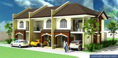 6 unit townhouse Apartment Floor Plans, Apartment Projects, Apartment Design, Dom, Tiny Homes, Home Living Room, Exterior Design, Townhouse, Bungalow