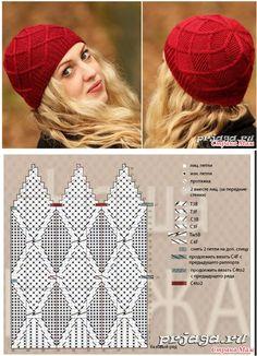 Шапка Knitting Paterns, Knitting Charts, Knitting Stitches, Crochet Patterns, Knit Mittens, Knitted Hats, Knit Or Crochet, Crochet Hats, Knit Beanie Hat