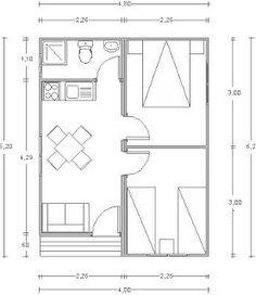 Planos Casas de Madera Prefabricadas: Cabaña de madera 30 m2 Cod.00125