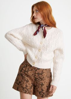 Cable Knit Wool Cardigan - White - Cardigans - & Other Stories GB