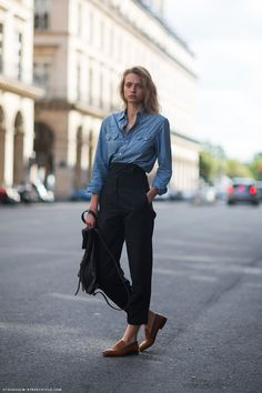 chambray, high waisted pants, brown loafers