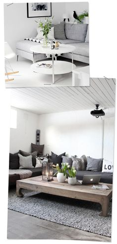 Nordic Inspiration for a Basement Renovation Grey Sectional, Basement Renovations, White Space, Scandinavian Interior, Building Design, Old Houses, Cribs, Home Furniture, Living Spaces