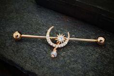 Industrial Piercing Jewelry, Body Jewelry Piercing, Industrial Barbell, Industrial Bar Earring, Industrial Bars, Ear Jewelry, Jewellery, Double Cartilage Piercing, Ear Piercings Cartilage