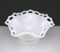 Vintage White Milk Glass Footed Bowl Lace Edge Westmoreland Circa 1960-70s Ribbed Side Compote White Glass Shabby Cottage