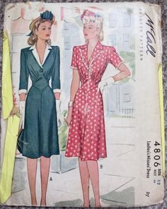 1940s dress pattern from McCalls. From the Dreamstress, from a post with other patterns as well.