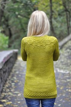 Stunning cables encircle the neckline of this light, delicate pullover worked in stockinette. Christmas Knitting Patterns, Sweater Knitting Patterns, Arm Knitting, Suzy Parker, Dress Gloves, Paintbox Yarn, Yarn Brands, Red Heart Yarn, Yellow Sweater