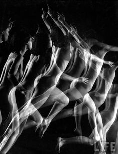Stroboscopic image of nude model leaping through space, Gjon Mili Nationality: American (born Albania) Creation date: 1941 Creation place: United States Gjon Mili, Lights Fantastic, Body Figure, Figure Drawing Reference, Art Academy, Photo Reference, Life Drawing, You Are Awesome, Photo Manipulation